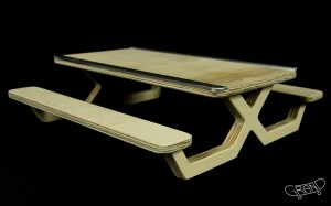 Picnic Table Modern Design - dark wood